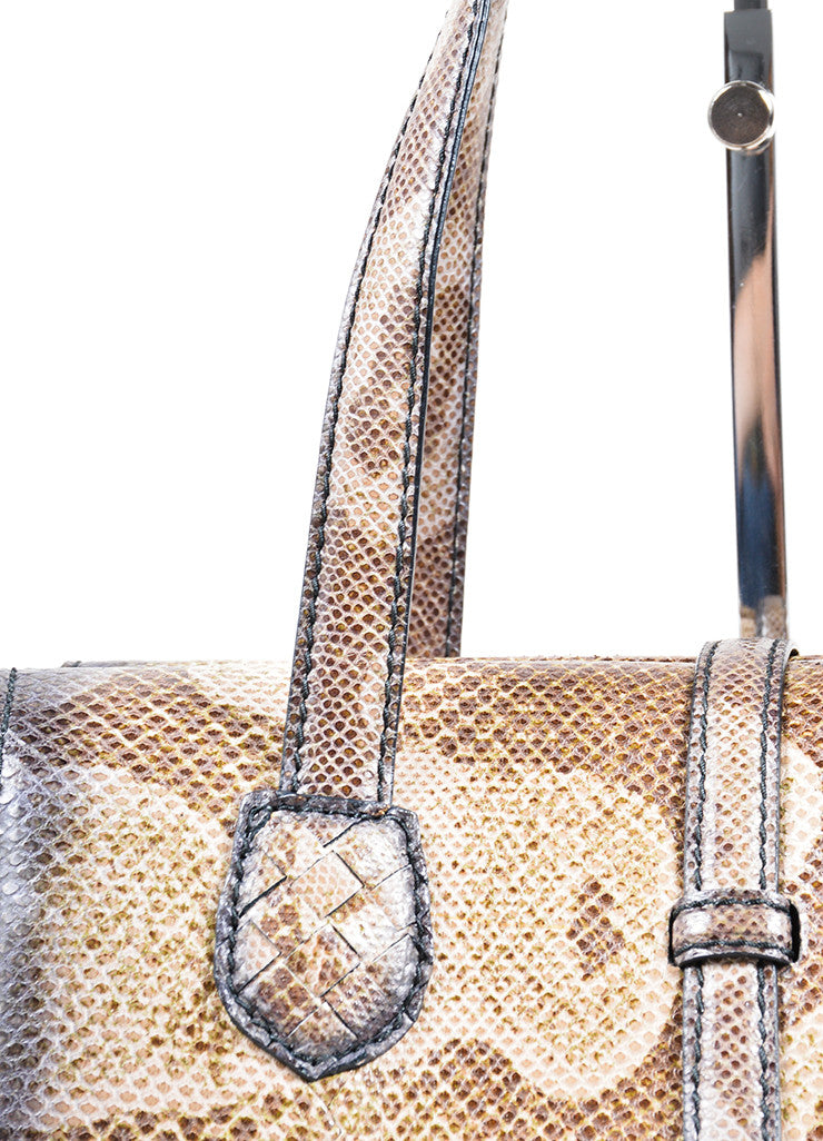 Bottega Veneta  Brown Water Snake Leather Structured Handbag Detail 2