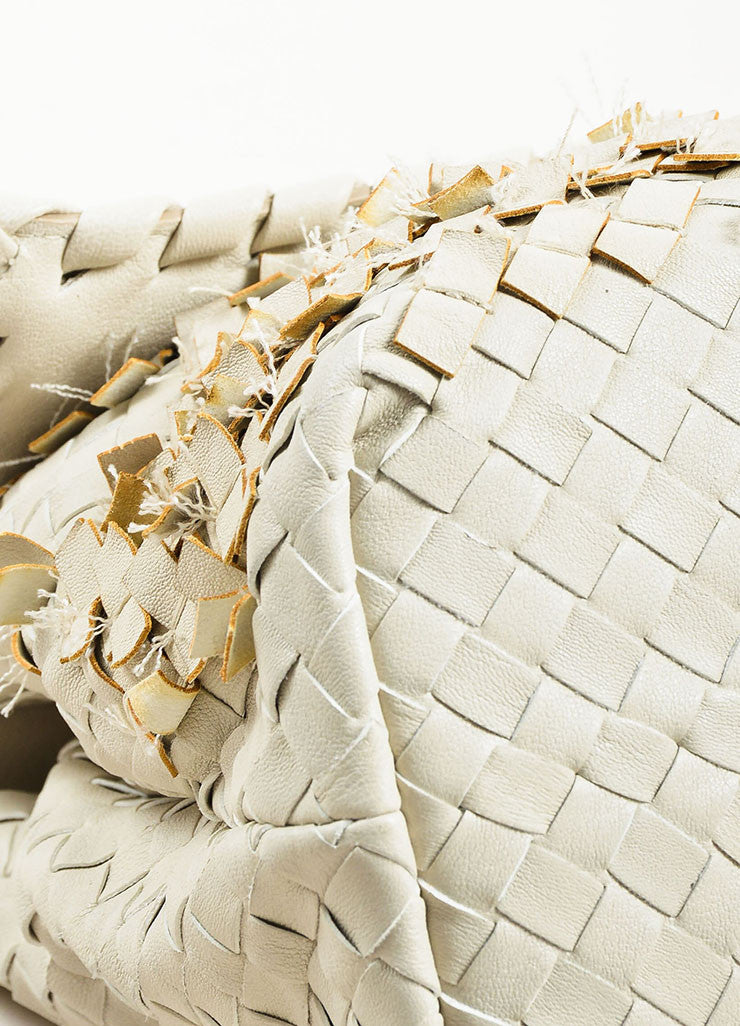 "Bottega Veneta White Woven Leather Fringed ""Olimpia Tobu"" Shoulder Bag Detail"