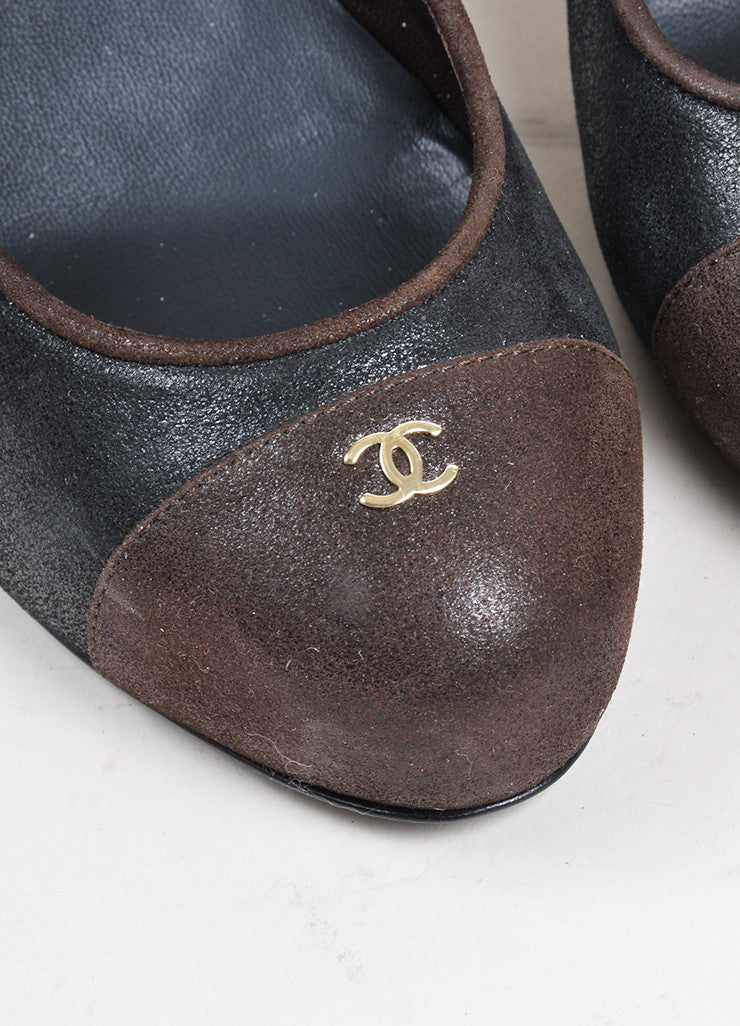 Black and Brown Chanel Crackled Leather Cap Toe Pumps Detail