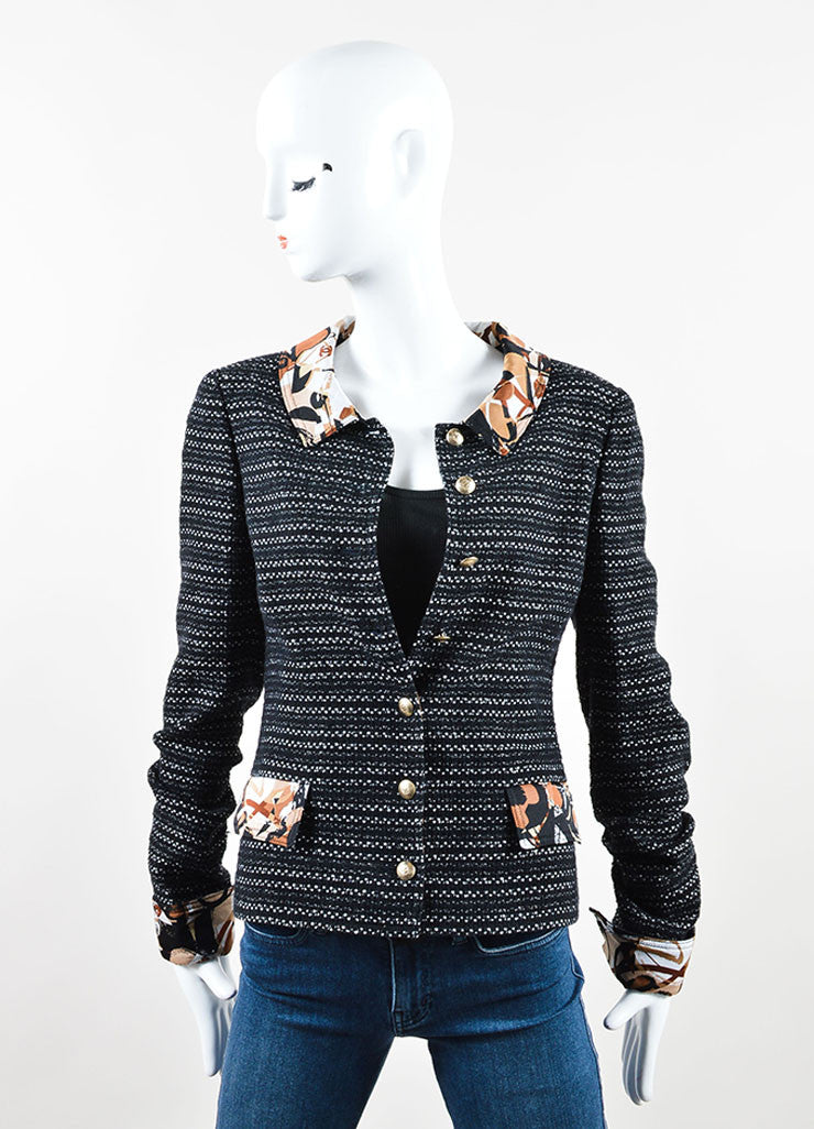 Chanel Black and Brown Tweed Silk Printed Blazer Frontview
