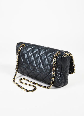 "Chanel Black Lambskin Leather Gold Toned ""Chain Me"" Classic Shoulder Bag Sideview"