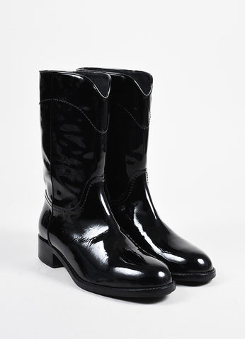 Black Patent Leather Chanel 'CC' Stitched Mid Calf Western Boots Frontview