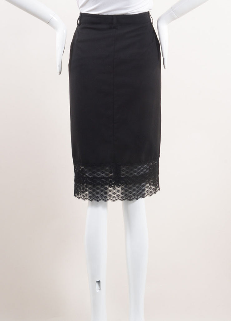 Chanel Black Wool Lace Trim Skirt Backview