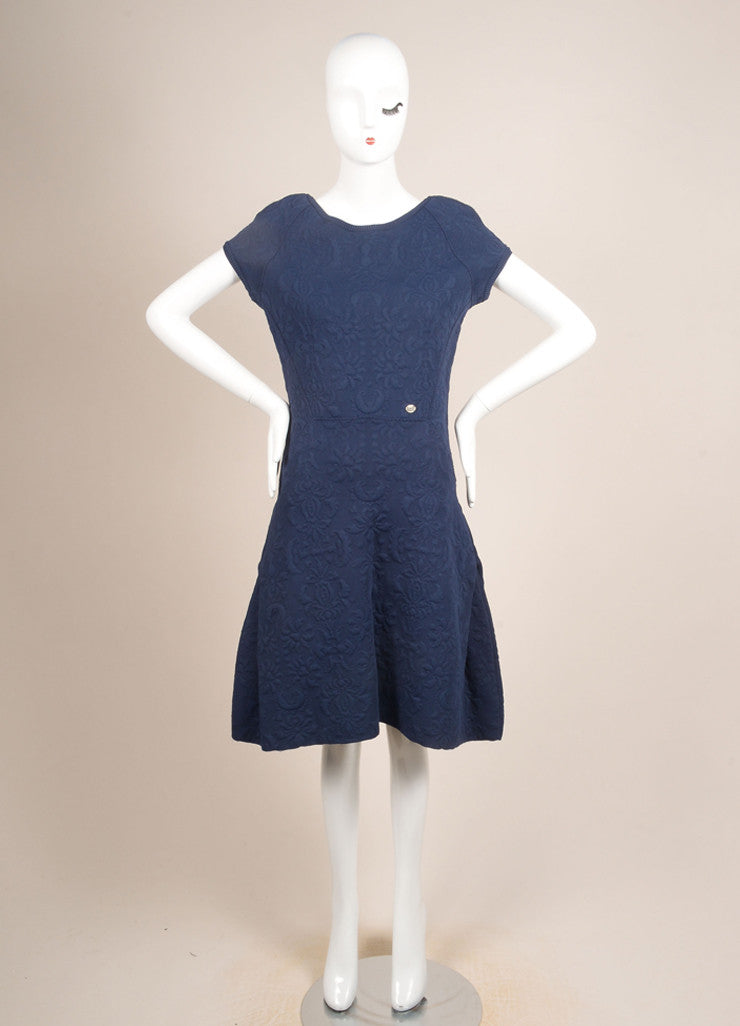 Chanel Blue Brocade Cap Sleeve Stretch Dress Frontview