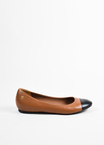 Chanel Brown and Black Leather Color Block Almond Cap Toe Ballerina Flats Sideview