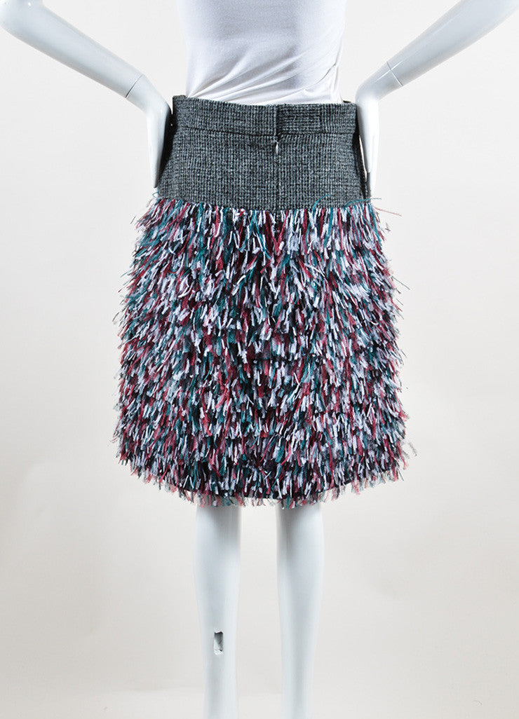 Chanel Grey, Green, and Red Wool Ostrich Feathers Skirt Backview