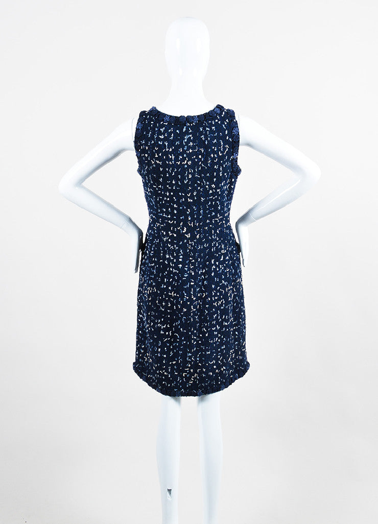 Navy Blue Chanel Tweed Confetti Embellished Sleeveless Shift Dress Backview