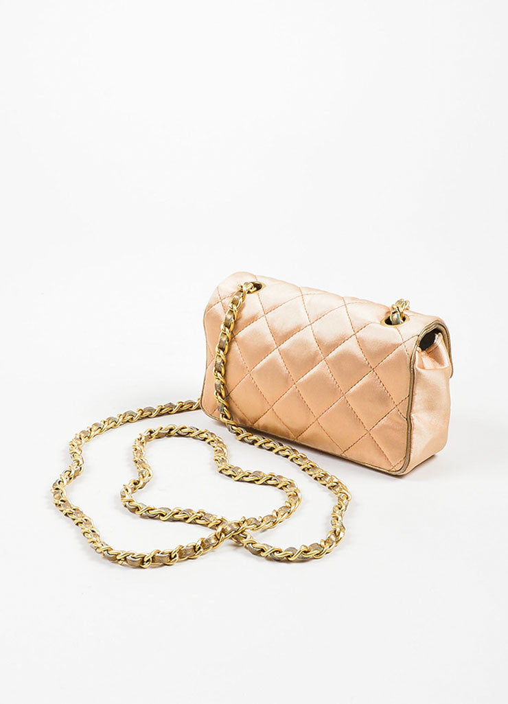 Pink, Pewter, and Gold Toned Chanel Satin and Leather Mini Classic Quilted Flap Evening Bag Backview