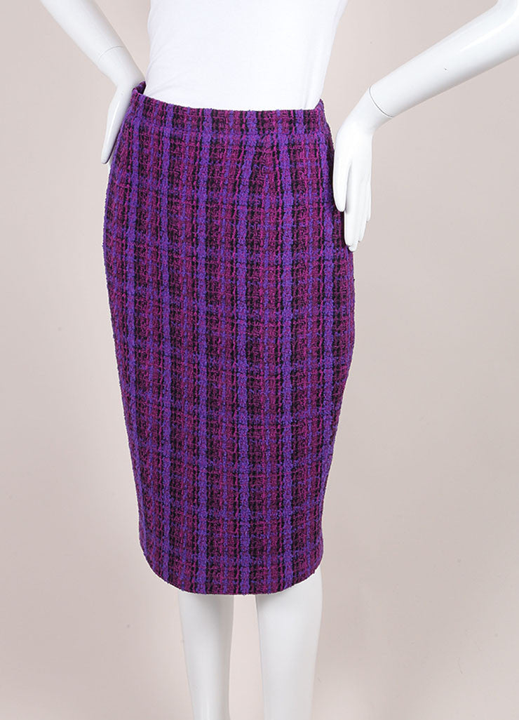 Chanel Purple, Black, and Multicolor Wool Tweed Woven Plaid Pencil Skirt Sideview
