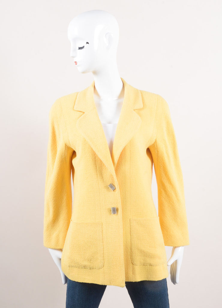 Chanel Yellow Wool Knit Jacket and Skirt Suit Jacket