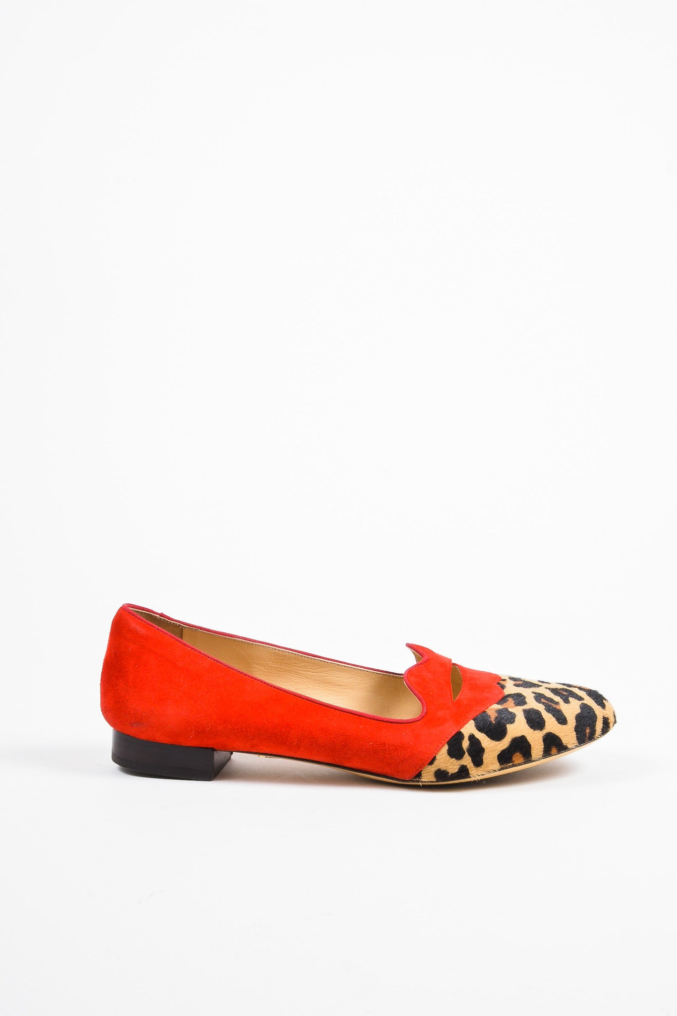 "Charlotte Olympia Red Suede Calf Hair Leopard Print ""Bisoux"" Flats Sideview"