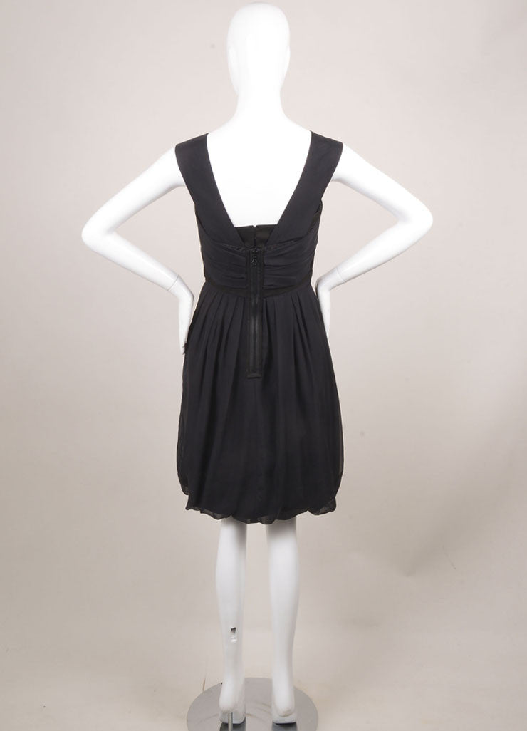 Chloe Black Cotton and Silk Sleeveless Fit and Flare Ruched Cocktail Dress Backview