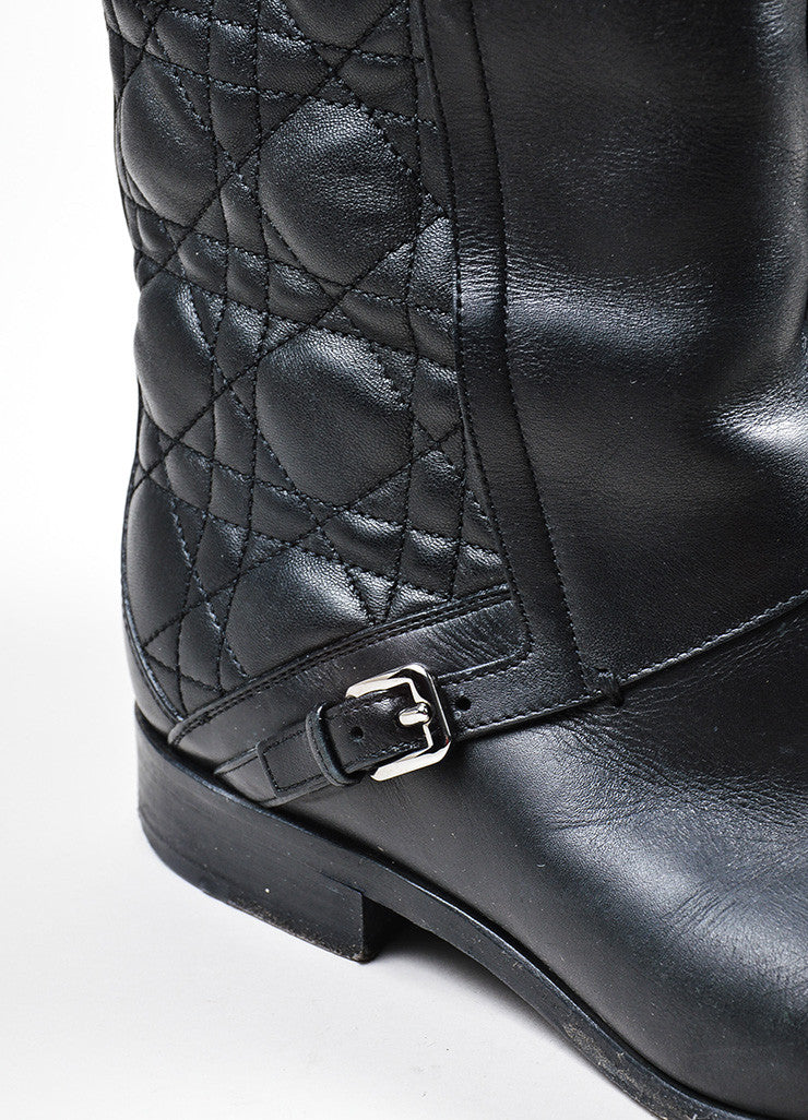 "Black Christian Dior Cannage Quilted Knee High ""City"" Flat Boots Detail"