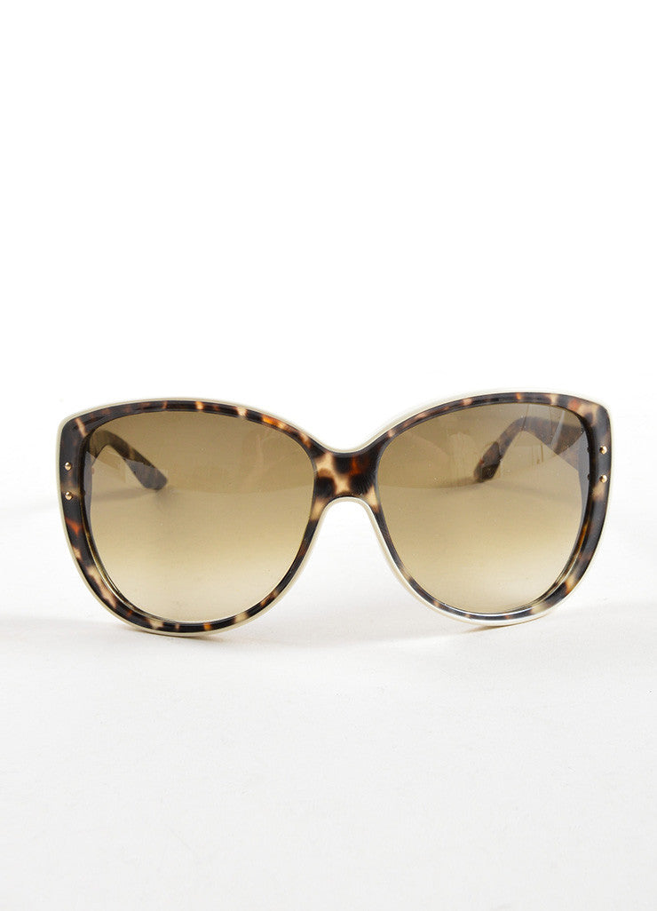 "Christian Dior Brown Camouflage Oversized ""Bengale"" Sunglasses Frontview"