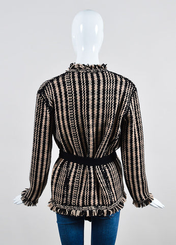 Black and Beige Christian Dior Knit Fringe Tie Long Sleeve Cardigan Sweater Backview