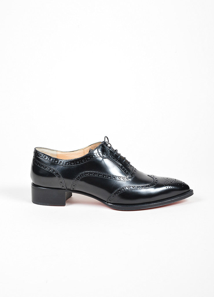 Black Christian Louboutin Leather Heeled Zazou Fiori Apollo Brogues Sideview