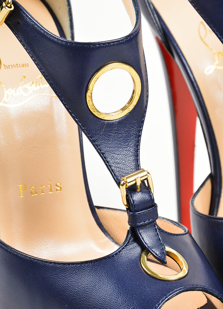 Navy Blue Christian Louboutin Leather Ublot 150 Sandals Detail