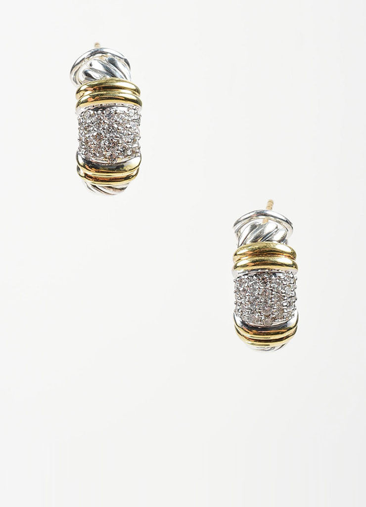 "Sterling Silver, 18K Yellow Gold, and Diamond David Yurman ""Metro"" Huggie Hoop Earrings Frontview"