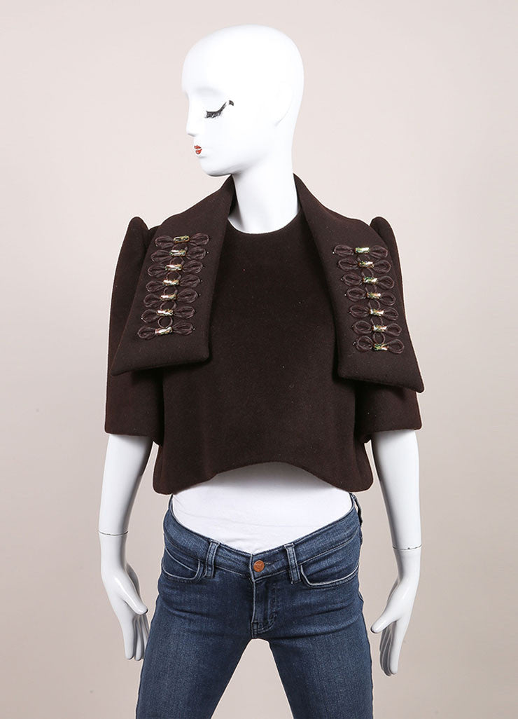 Delpozo New With Tags Brown Wool and Angora Blend Embellished Scarf and Over Shirt Frontview