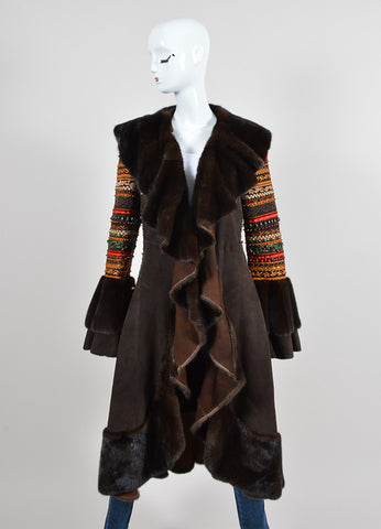 Brown Dennis Basso Suede Leather and Fur Beaded and Embroidered Draped Long Coat Frontview