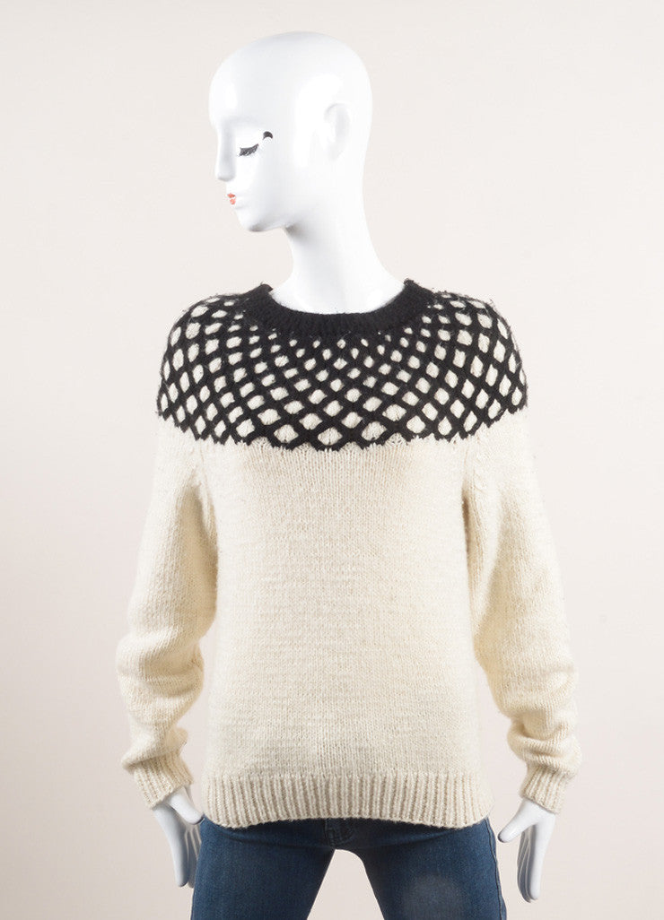 Derek Lam New With Tags Cream and Black Diamond Cashmere Pull On Sweater Frontview