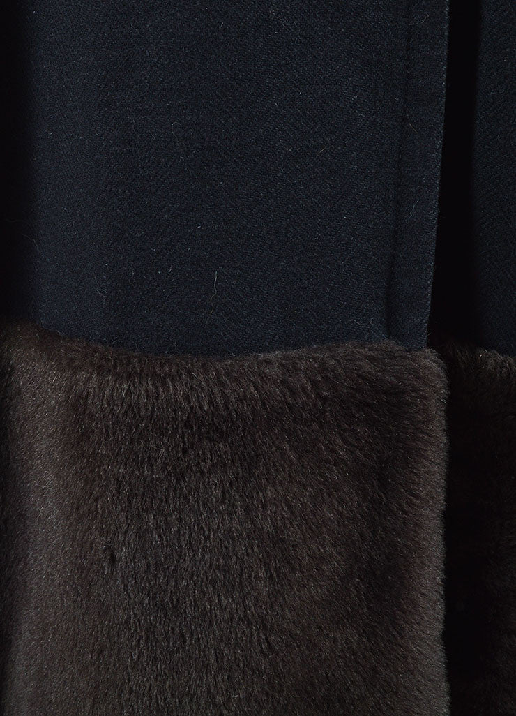 Dries Van Noten Black and Brown Wool Fur Trim Double Breasted Coat Detail