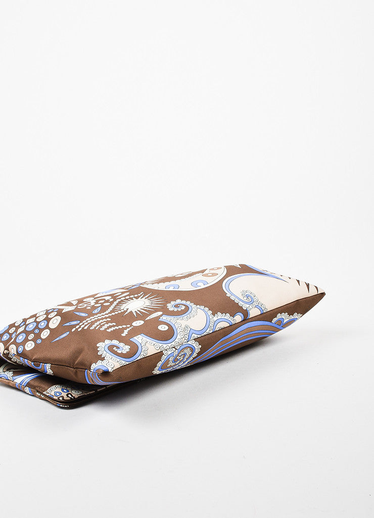 Emilio Pucci Brown Blue Abstract Printed Handbag Bottom View