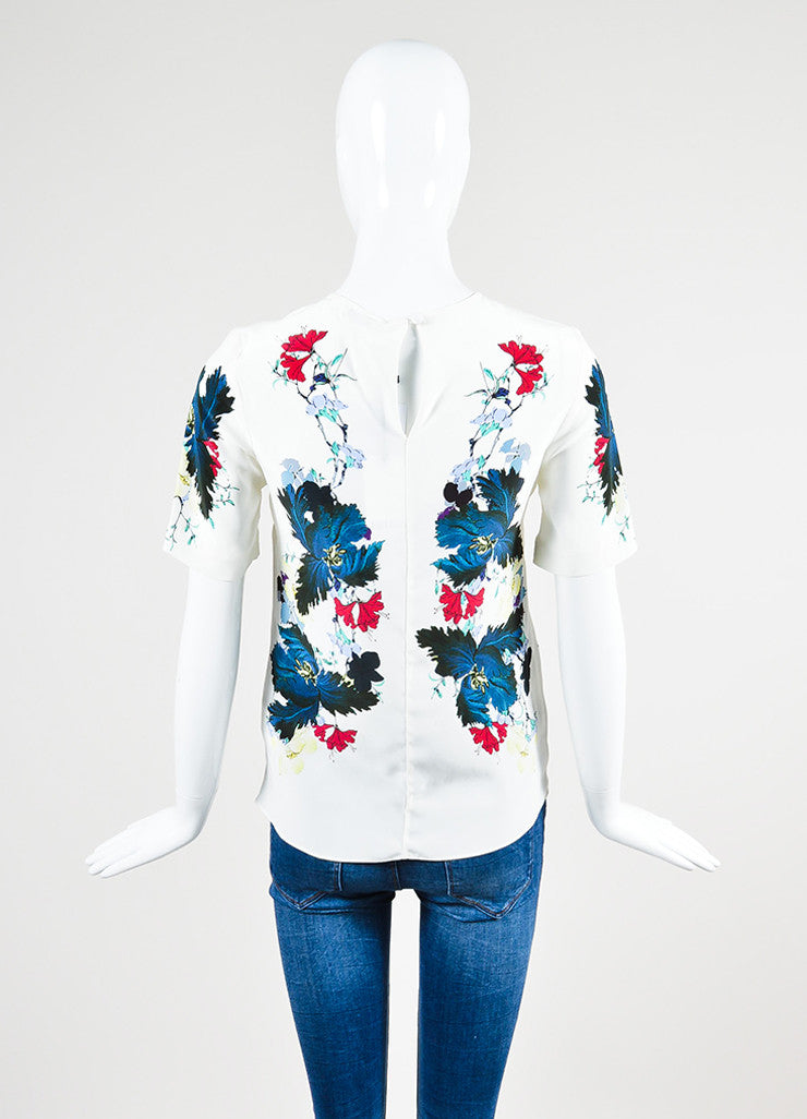"White and Multicolor Erdem Silk Floral Print ""Armilla"" Short Sleeve Top Backview"