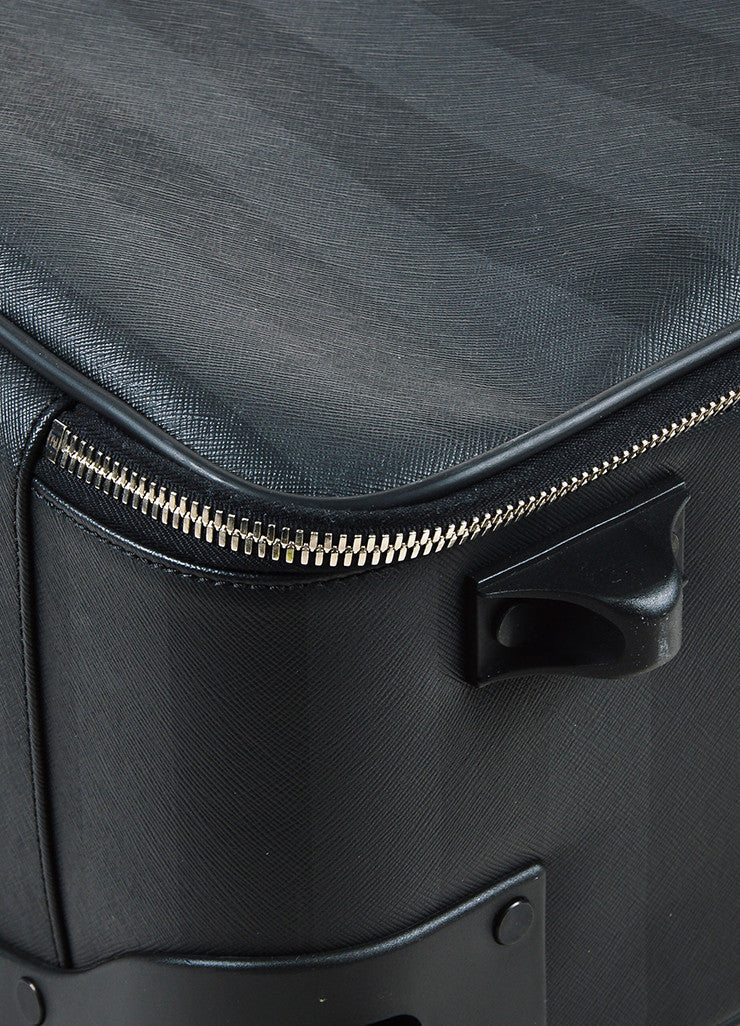 "Fendi Black & Grey Canvas Striped Rollaway ""Pequin Trolley"" Carryon Detail 2"