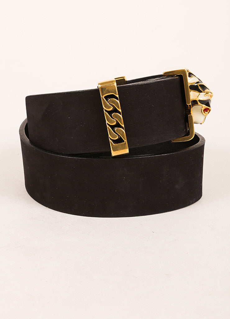 Gucci Black and Gold Toned Enamel Panther Head Leather Belt Sideview