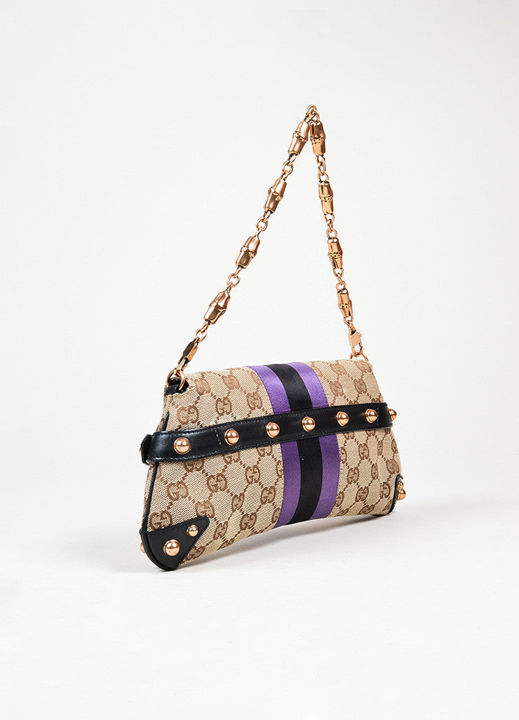 Brown, Black, and Purple Gucci Monogram Canvas Leather Horsebit Chain Strap Clutch Bag Backview