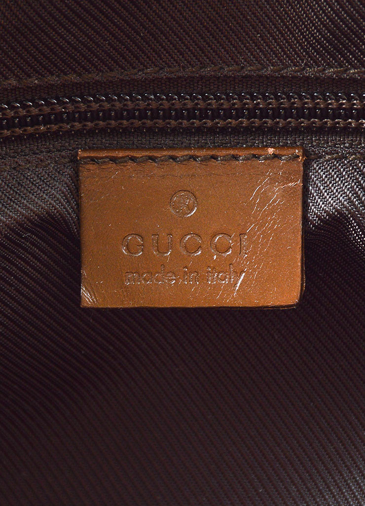 "Tan and Brown Gucci Monogram Canvas and Leather ""Bardot"" Zip Extra Large Shoulder Bag Brand"