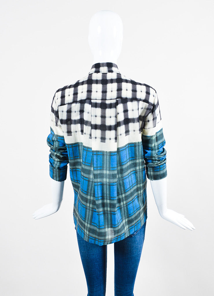 Grey, Blue and White Haider Ackermann Wool Blurred Plaid Buttoned Top Back