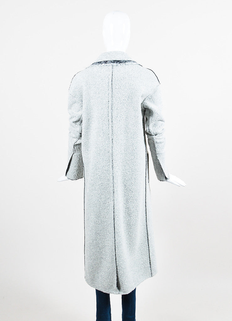 "Hellessy Grey Boucle ""Spiro"" Long Coat Backview"
