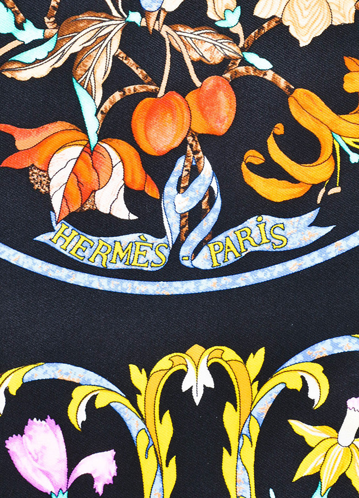 "Hermes Black and Yellow Silk ""Pierres d'Orient et d'occident"" Scarf Brand"