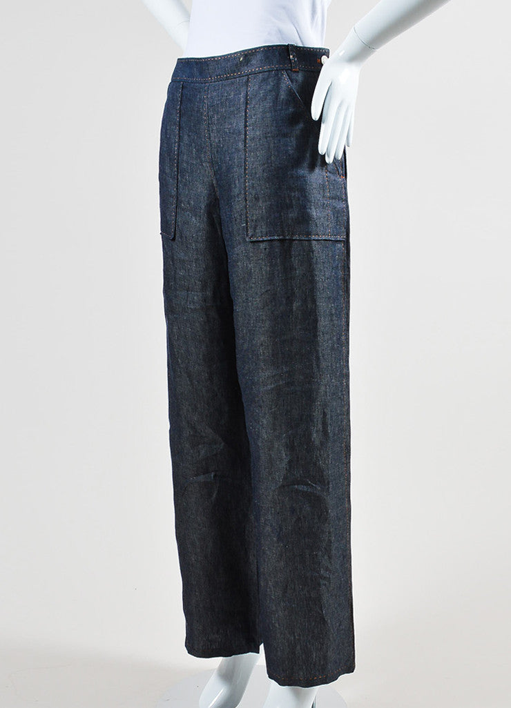 Blue Hermes Linen Stitched Wide Leg Pants Sideview