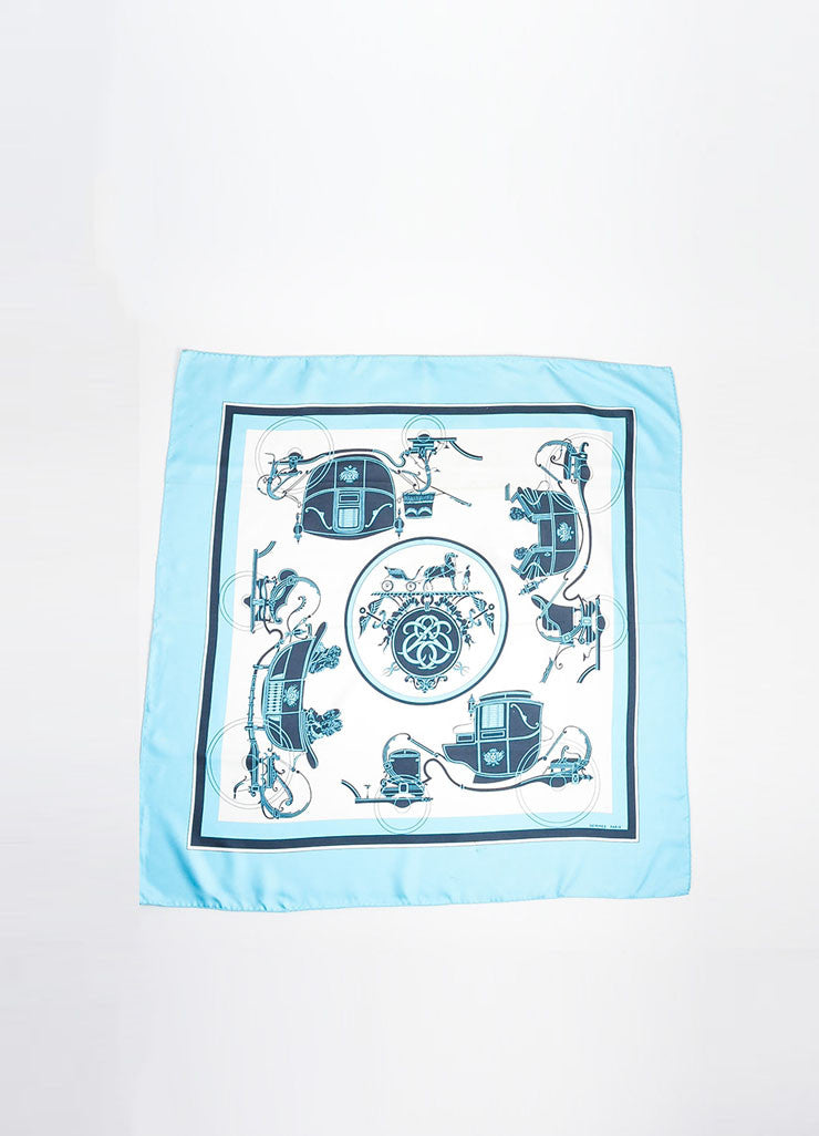 "Blue and White Hermes ""Ex Libris"" Horse Carriages Print Silk Square Scarf Frontview 2"