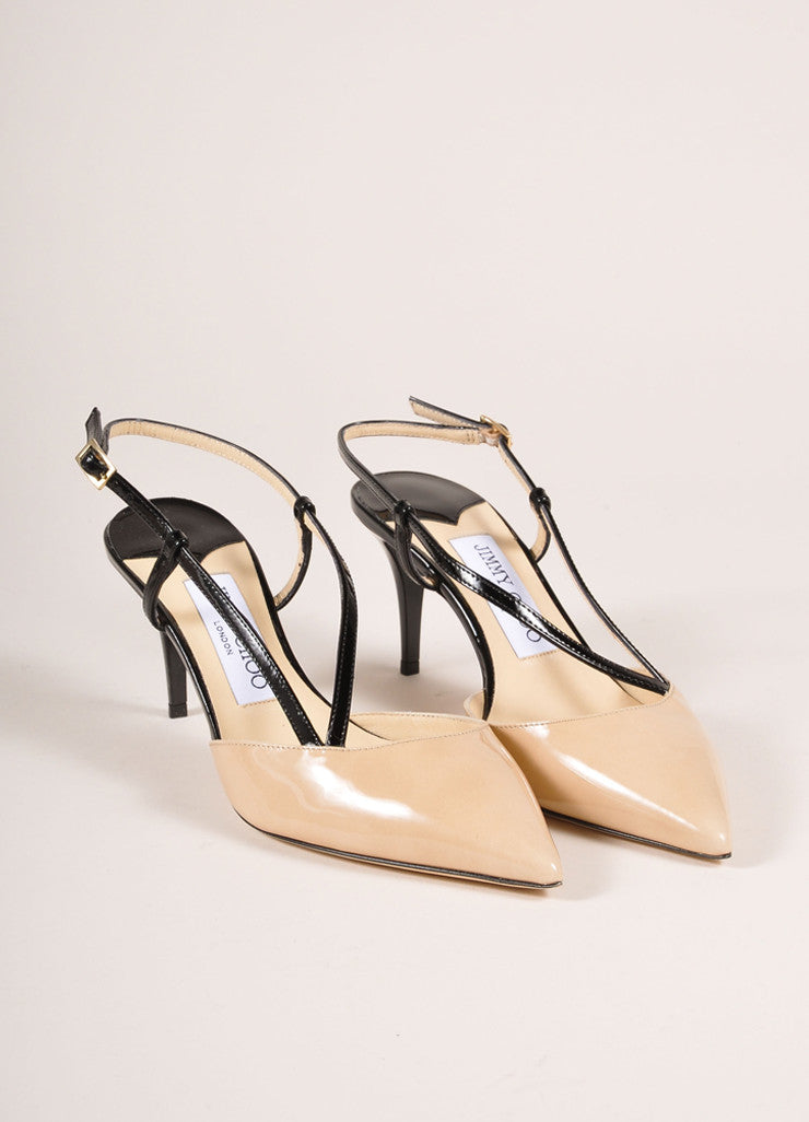"Jimmy Choo Nude and Black Patent Leather ""Mandy"" Mid Heel Pumps Frontview"