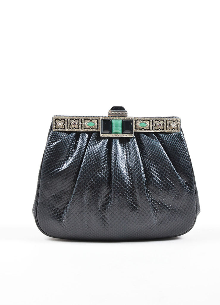 Judith Leiber Black Reptile Leather Jade, Onyx, and Moonstone Deco Chain Strap Bag Frontview
