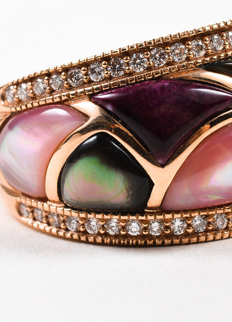 Kabana 14K Rose Gold Pink Mother Of Pearl Diamond Mosaic Ring Detail
