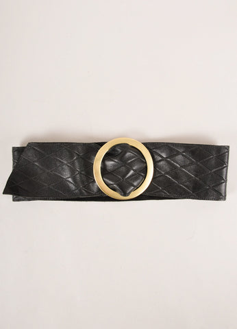 Kristin Kahle Black and Brass Quilted Leather Wide Buckled Waist Belt Frontview