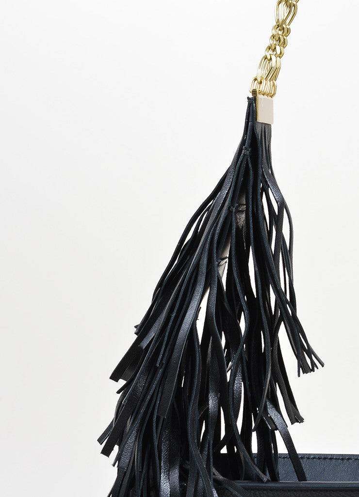 Lanvin Tribal Fringe Black Grained Leather Multistrand Chain Shoulder Bag Detail 2