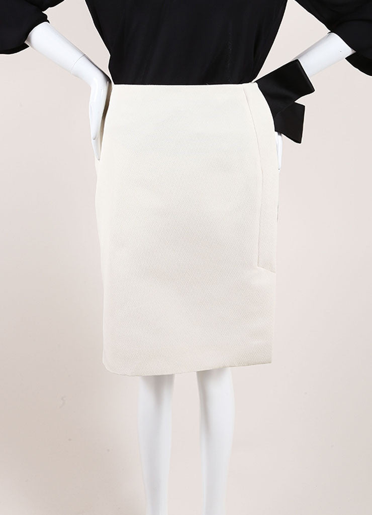 Lanvin Cream and Black Textured Knit Oversized Bow Pencil Skirt Frontview