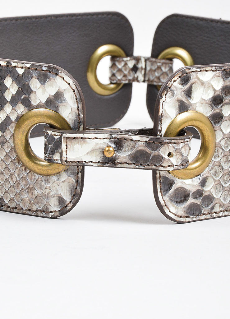 Taupe and Grey Lanvin Python Snakeskin Eyelet Linked Strap Waist Belt Detail 2