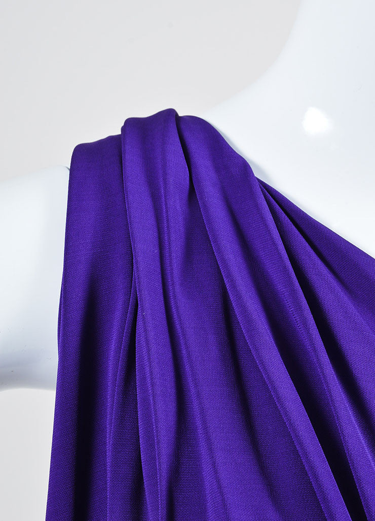 Purple Lanvin Stretch Knit Twisted One Shoulder Maxi Dress Detail