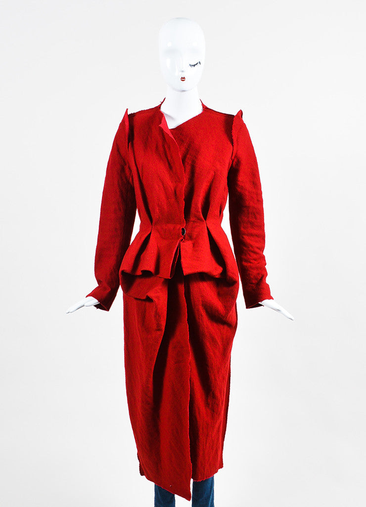 Red Lanvin Wool, Cotton, and Cashmere Pleated Raw Edge Long Duster Coat Frontview 2