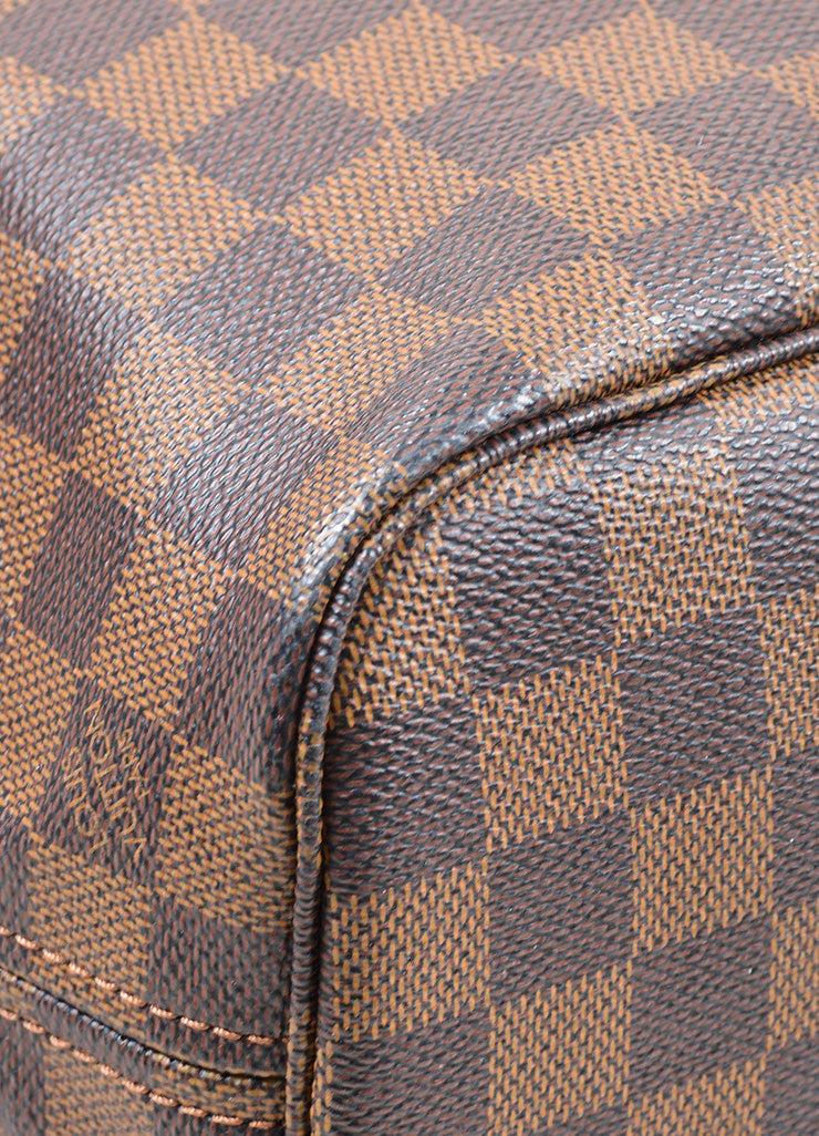 "Louis Vuitton Ebene Brown Damier Checkered ""Neverfull PM"" Tote Bag Detail"
