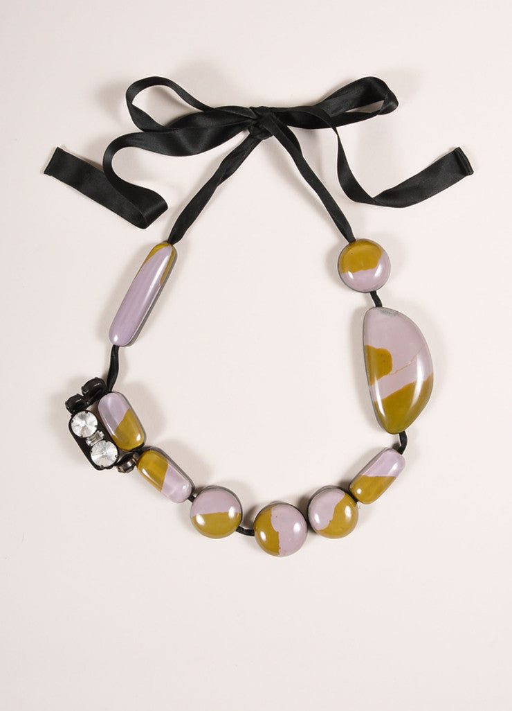 Marni Black, Lavender, and Mustard Glossy Stone and Ribbon Tie Statement Necklace Frontview