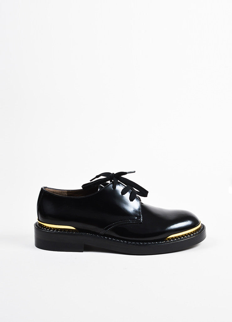 Marni Black Glossy Leather Gold Tip Lace Up Oxford Loafers Sideview