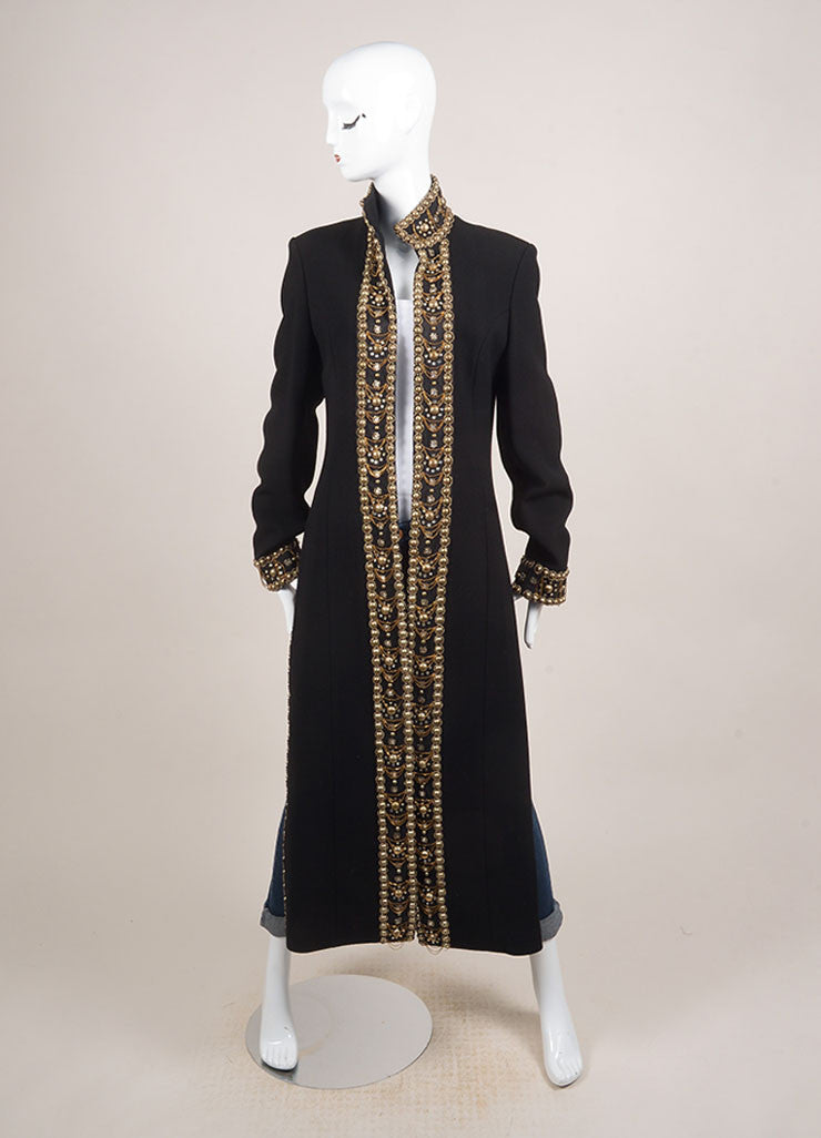 Naeem Khan Black Wool and Silk Blend Beaded Embellished Full Length Coat Frontview